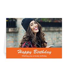 Custom Classic Orange Photo Birthday Cards, 5