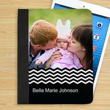 Personalised Black Chevron Personalised Photo Folio Case