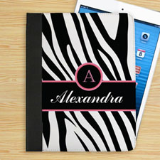 Personalised Black Zebra Pattern Personalised Name & Initial Folio Case