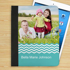 Personalised Aqua Chevron Personalised Photo Folio Case