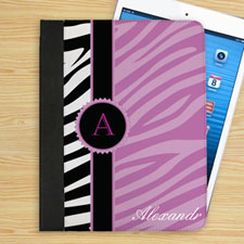 Personalised Lavender And Black Zebra Pattern Personalised Name Folio Case