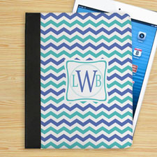 Personalised Blue And Aqua Chevron Personalised Initial Folio Case
