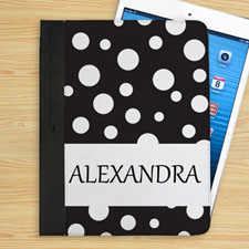 Personalised Personalised Name Black Polka Dot Folio Case
