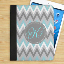 Personalised Aqua White Grey Zigzag Chevron Custom Monogrammed Folio Case
