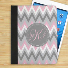 Personalised Pink White Grey Zigzag Chevron Custom Monogrammed Folio Case