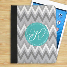 Personalised White Grey Zigzag Chevron Custom Monogrammed Folio Case