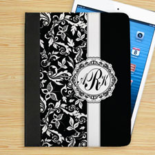 Personalised Black Damask Personalised Monogrammed Folio Case