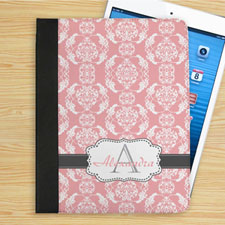 Personalised Elegant Pink And Grey Damask Monogrammed Folio Case