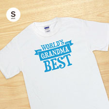 Custom Print World's Best Grandma White Adult Small T Shirt