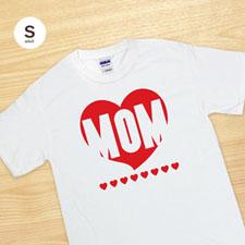 Custom Print Red Heart mum White Adult Small T Shirt