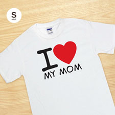 Custom Print I Love White Adult Small T Shirt