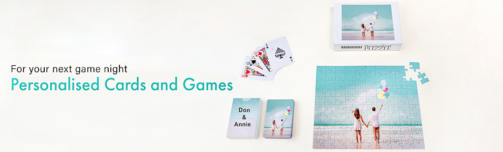Personalised playing cards, game cards and jigsaw puzzles