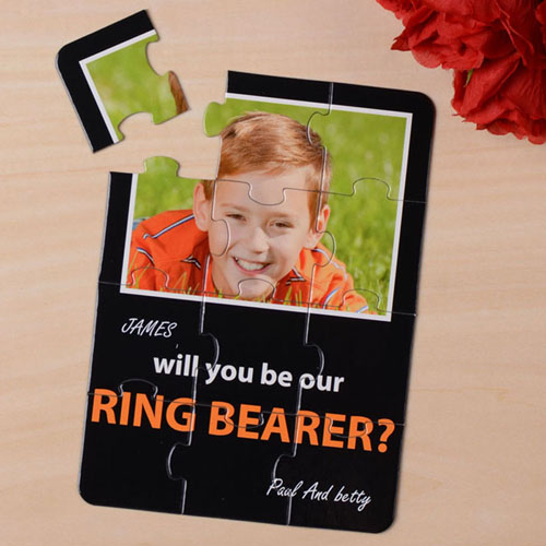 Elegant Black Will You Be My Ring Bearer Invitation Puzzle