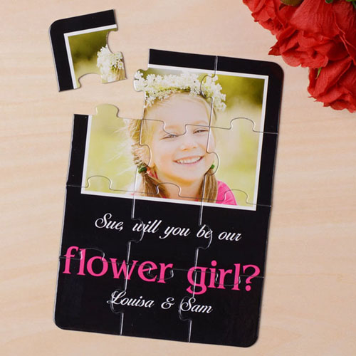 Elegant Black Will You Be My Flower Girl Invitation Puzzle