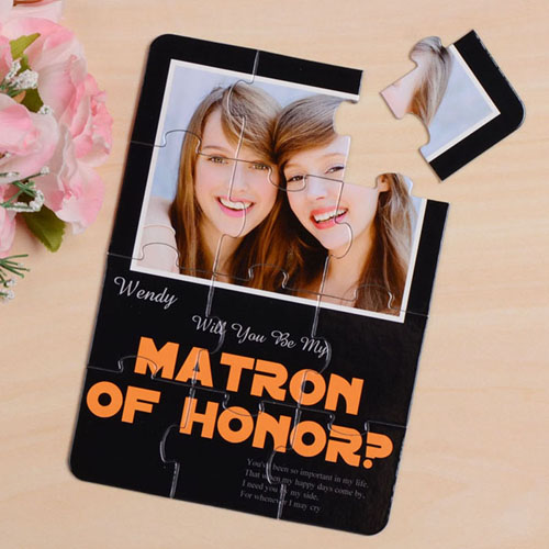 Elegant Black Will You Be My Matron Of Honor Invitation Puzzle