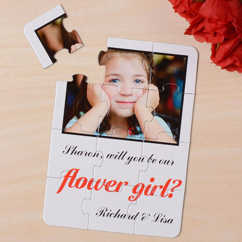 White Will You Be My Flower Girl Invitation Puzzle