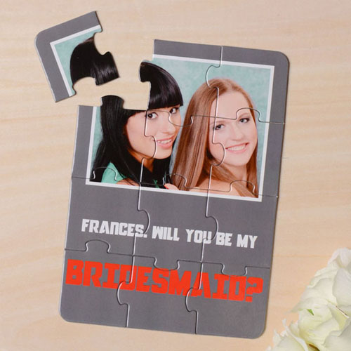 Personalised Gray Will You Be My Bridesmaid Invitation Puzzle