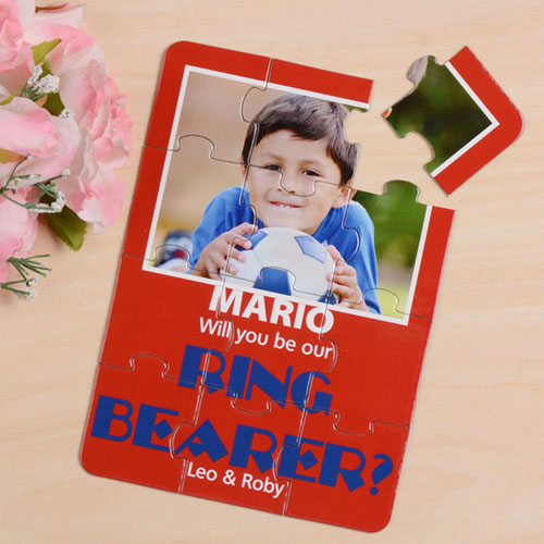 Personalised Red Will You Be My Page Boys Invitation Puzzle