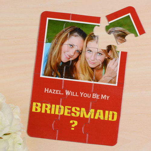 Personalised Red Will You Be My Bridesmaids Invitation Puzzle