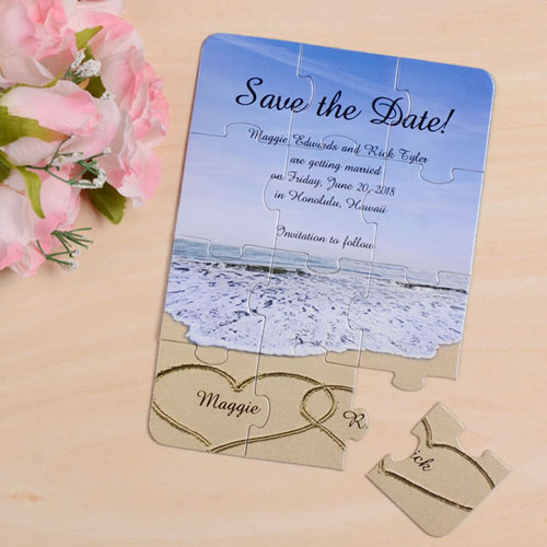 Personalised Photo Gallery Save The Date Invitation Puzzle