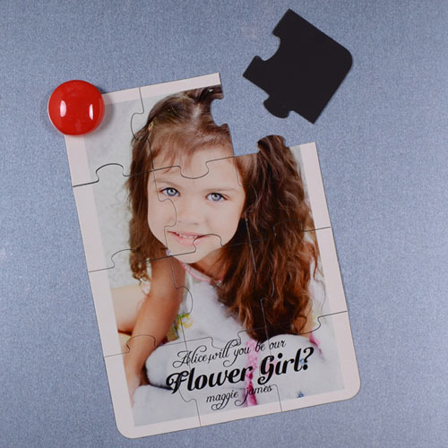 Personalised Magnetic Puzzle Card For Flower Girl Puzzle