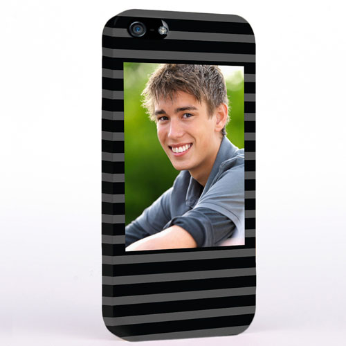 Personalised Grey Stripes Pattern Photo iPhone Case