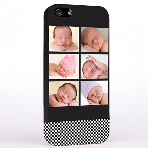 Personalised B&W Stripes Six Collage iPhone Case