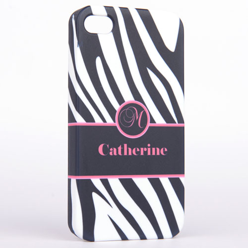 Personalised Zebra Pattern Monogrammedmed iPhone 5 Case
