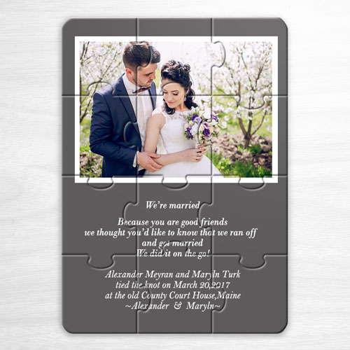 Personalised Grey Wedding Photo Puzzle Invite