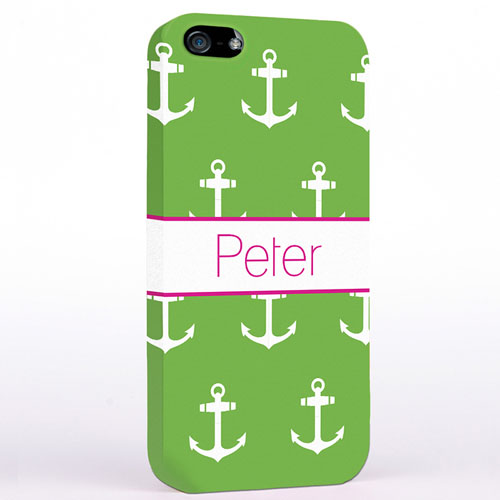 Personalised Lime And White Cute Anchors iPhone Case