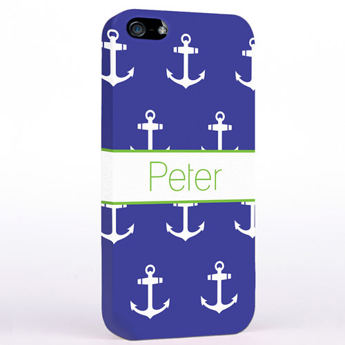 Personalised Navy And White Cute Anchors iPhone Case
