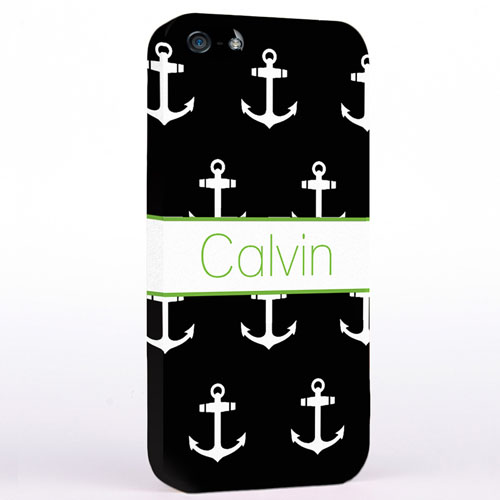 Personalised Black And White Cute Anchors iPhone Case