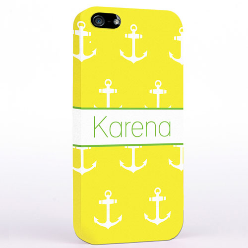 Personalised Yellow And White Cute Anchors iPhone Case