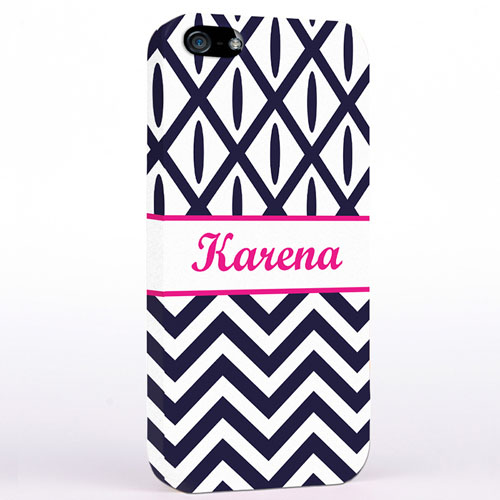 Personalised Black & White Chevron Ikat iPhone Case