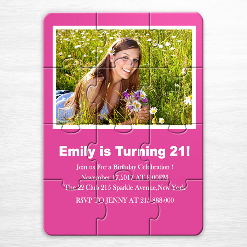 Personalised Hot Pink Sweet Sixteen Birthday Puzzle Invite