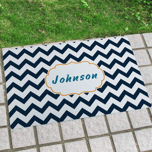 Black White Chevron Personalised Name Door Mat