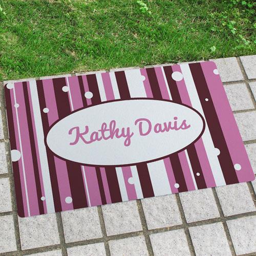 Stripe And Polka Dots Personalised Name Door Mat