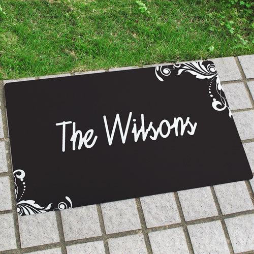 Black Floral Personalised Name Door Mat