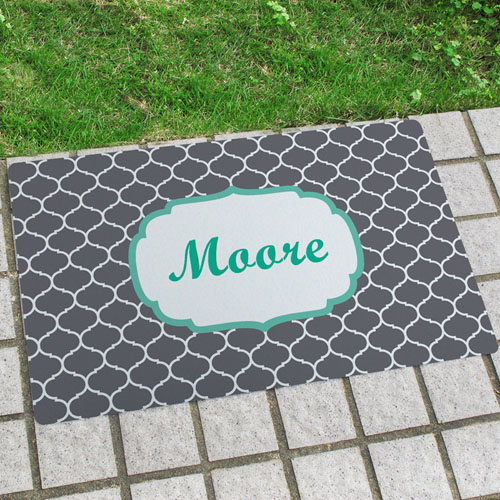 Grey Moroccan Personalised Name Door Mat