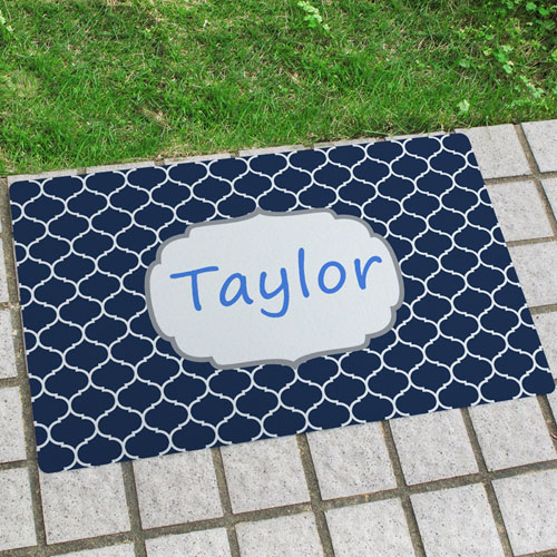 Navy Moroccan Personalised Name Door Mat