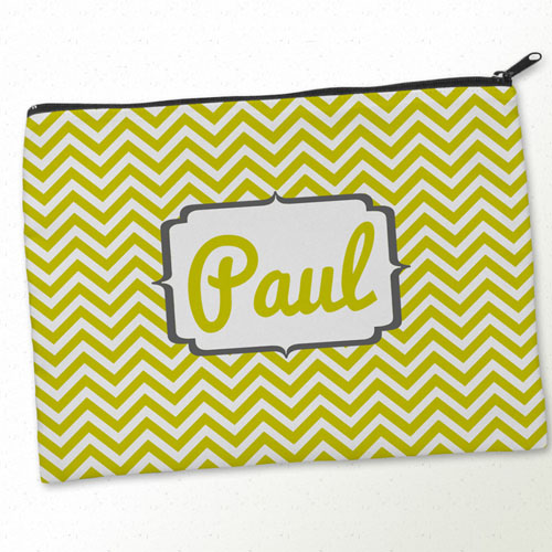 Personalised Yellow Charcoal Monogrammed Big Make Up Bag 9.5