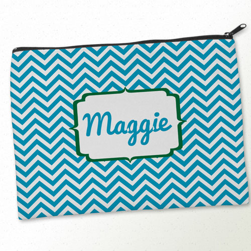 Personalised Turquoise Green Chevron Big Make Up Bag 9.5