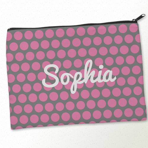 Personalised Pink Grey Large Dots Big Make Up Bag 9.5