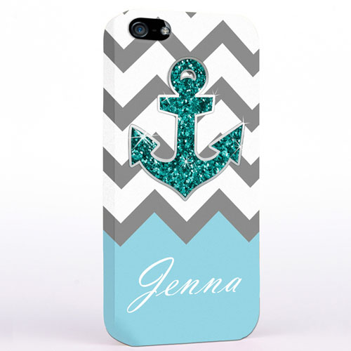 Personalised Glitter Turquoise Anchor Grey Chevron iPhone Case