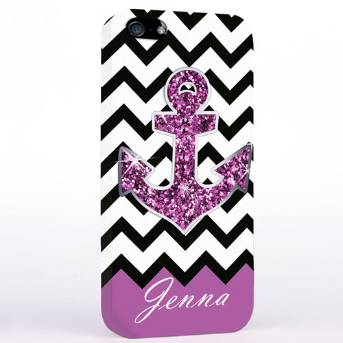 Personalised Glitter Purple Anchor Black Chevron iPhone Case