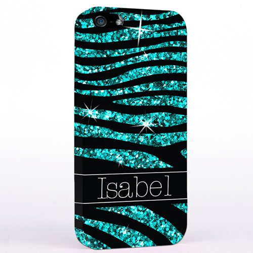 Personalised Glitter Peacock Animal Print iPhone Case