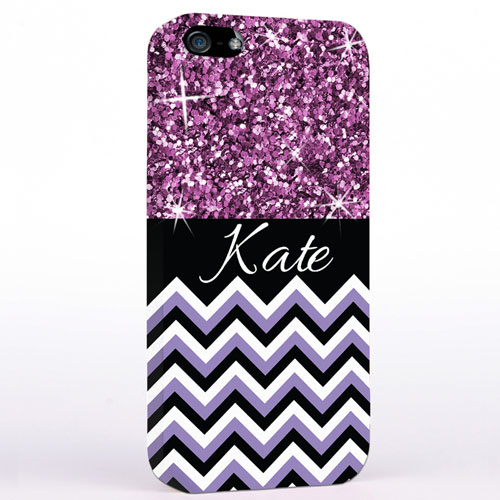 Personalised Glitter Lavender Chevron iPhone Case