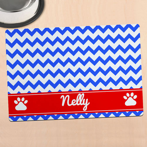 Blue Chevron Personalised Pet Meal Mat