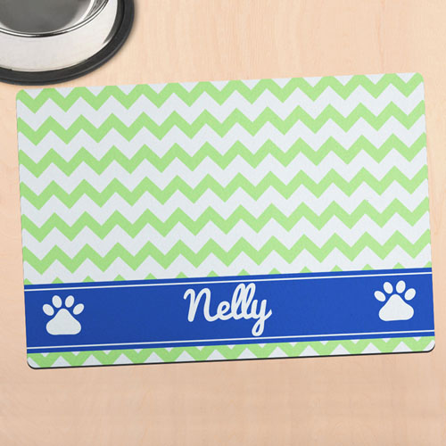 Green Chevron Personalised Pet Meal Mat