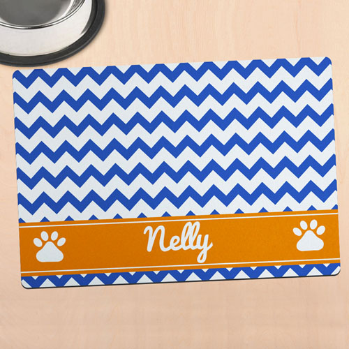 Navy Chevron Personalised Pet Meal Mat